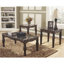 Ashley North Shore 3 Piece Coffee Table Set in Dark Brown
