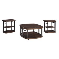 Ashley Challiman 3 Piece Coffee Table Set in Rustic Brown