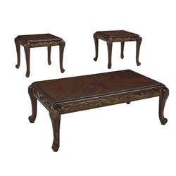 Ashley Florrilyn 3 Piece Coffee Table Set in Reddish Brown