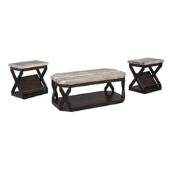 Ashley Radilyn 3 Piece Coffee Table Set in Grayish Brown