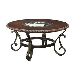 Ashley Gambrey Round Coffee Table in Reddish Brown