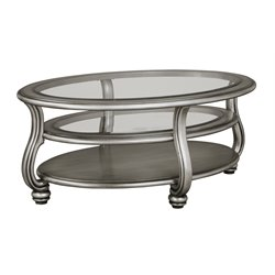 Ashley Coralayne Oval Coffee Table in Silver
