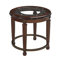 Ashley Leahlyn Round End Table in Reddish Brown