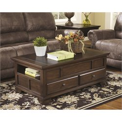 Ashley Gately Lift Top Coffee Table in Medium Brown
