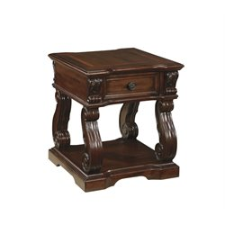 Ashley Alymere Square End Table in Rustic Brown