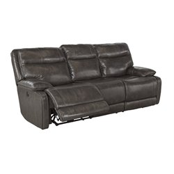 Ashley Palladum Power Reclining Leather Sofa in Metal