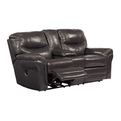 Ashley Banetonville Double Power Reclining Leather Loveseat in Metal