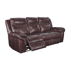 Ashley Zephen Power Reclining Leather Sofa in Mahogany