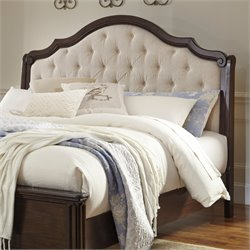 Ashley Moluxy Queen Upholstered Sleigh Headboard in Off White