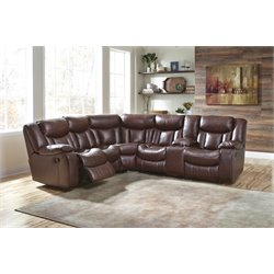 Ashley Amaroo Reclining Sectional in Brown