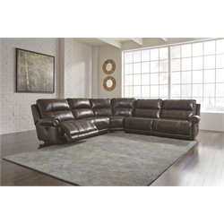 Ashley Dak DuraBlend 5 Piece Power Reclining Sectional in Antique