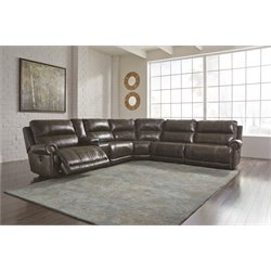 Ashley Dak DuraBlend 6 Piece Power Reclining Sectional in Antique