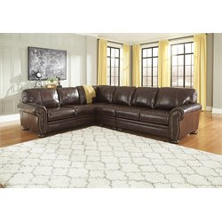 Ashley Banner 3 Piece Left Facing Sectional in Coffee