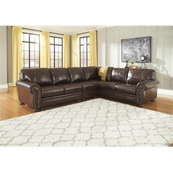 Ashley Banner 3 Piece Right Facing Sectional in Coffee