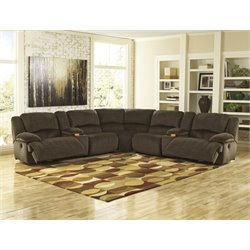 Ashley Toletta 7 Piece Reclining Left Facing Sectional in Chocolate