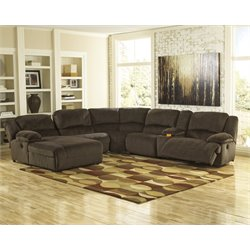 Ashley Toletta 6 Piece Reclining Right Facing Sectional in Chocolate