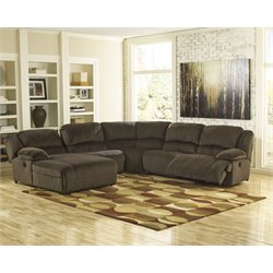 Ashley Toletta 5 Piece Reclining Right Facing Sectional in Chocolate