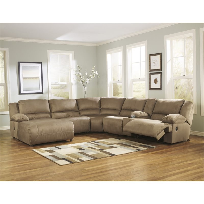 Ashley hogan 6 piece reclining right facing sectional in for Ashley hogan chaise