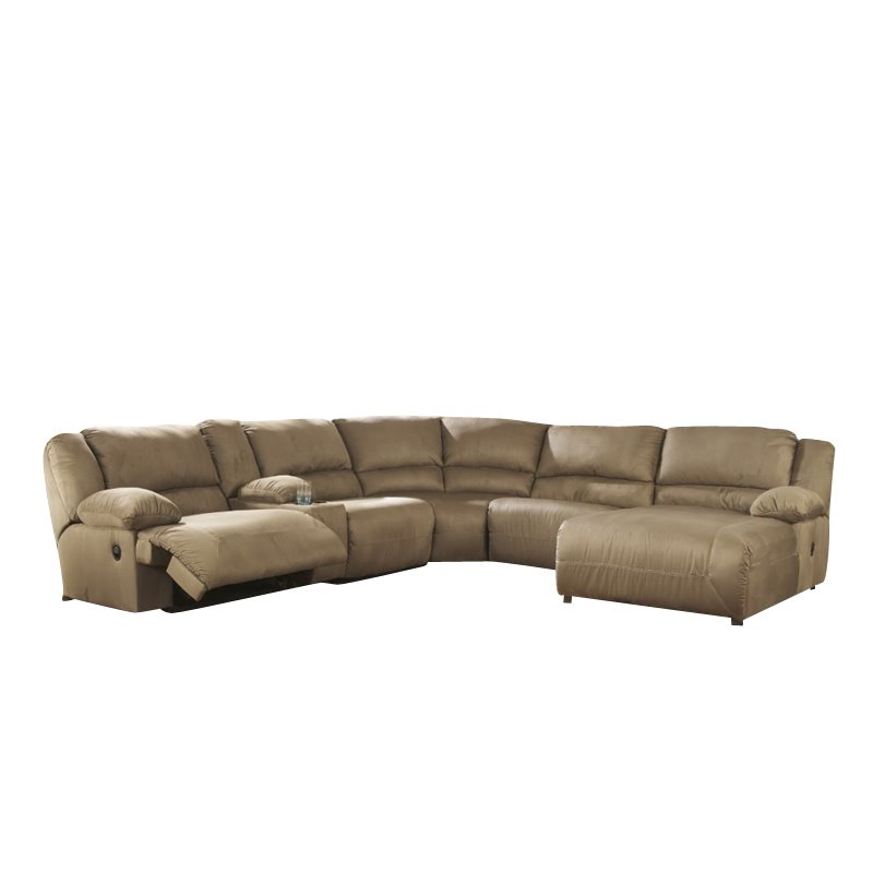 Ashley hogan 6 piece reclining left facing sectional in for Ashley hogan chaise