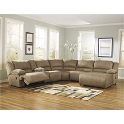 Ashley Hogan 6 Piece Reclining Left Facing Sectional in Mocha