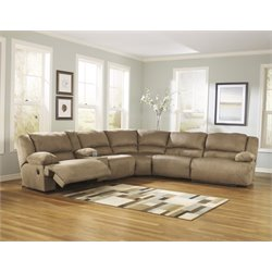 Ashley Hogan 6 Piece Reclining Sectional in Mocha