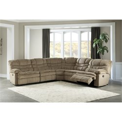 Ashley Zavion 5 Piece Reclining Sectional in Caramel