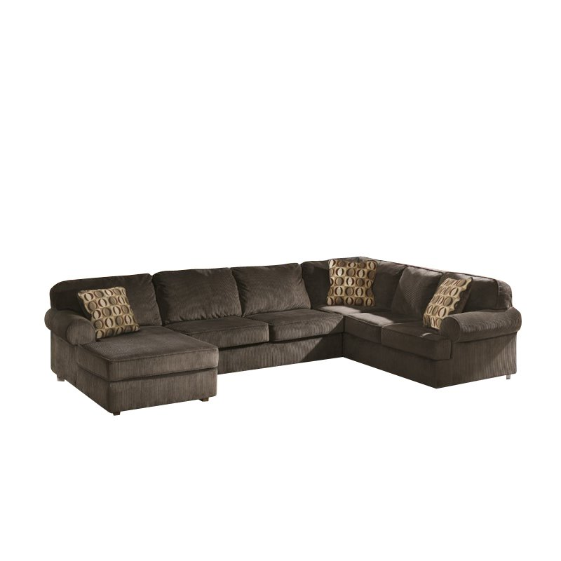 Ashley vista 3 piece right facing sectional in chocolate for Ashley furniture vista chocolate sofa sectional