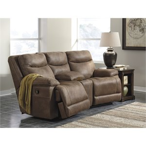 Ashley Valto 3 Piece Reclining Loveseat in Saddle