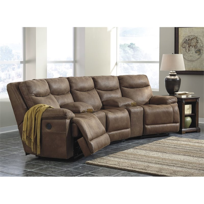 Ashley valto 5 piece power reclining sectional in saddle for 5 piece living room furniture