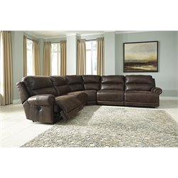 Ashley Luttrell 5 Piece Power Reclining Sectional in Espresso
