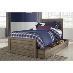 Ashley Javarin Twin Panel Bed with Trundle in Grayish Brown