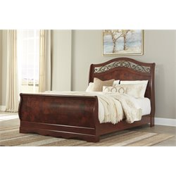 Ashley Delianna Queen Sleigh Bed in Brown