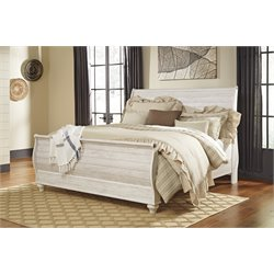 Ashley Willowton Sleigh Bed in Whitewash