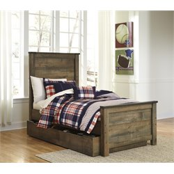 Ashley Trinell Twin Panel Bed with Trundle in Brown