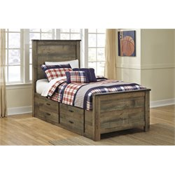 Ashley Trinell Twin Panel Bed with Underbed Storage in Brown