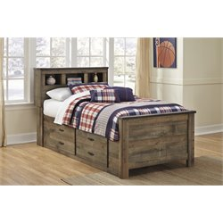 Ashley Trinell Twin Bookcase Bed with Underbed Storage in Brown
