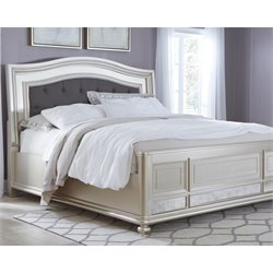 Ashley Coralyne Upholstered Bed in Silver