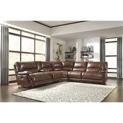 Ashley Kalel 6 Piece Power Reclining Sectional in Saddle