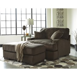 Ashley Bisenti Accent Chair with Ottoman in Chocolate
