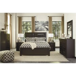 Ashley Tadlyn 5 Piece Queen Panel Bedroom Set in Dark Brown