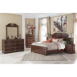Ashley Naralyn 5 Piece Queen Panel Bedroom Set in Reddish Brown