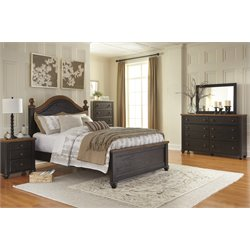 Ashley Maxington 5 Piece Queen Panel Bedroom Set in Black and Brown