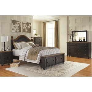 Ashley Maxington 5 Piece Storage Bedroom Set in Black and Reddish Brown
