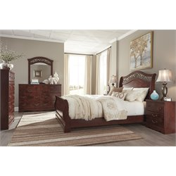 Ashley Delianna 5 Piece Sleigh Bedroom Set in Reddish Brown