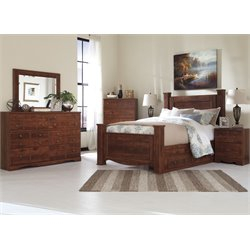 Ashley Brittberg 5 Piece Poster Storage Bedroom Set in Reddish Brown