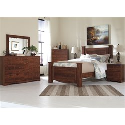 Ashley Brittberg 5 Piece Queen Poster Bedroom Set in Reddish Brown