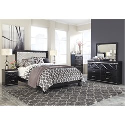 Ashley Fancee 5 Piece Queen Panel Bedroom Set in Black