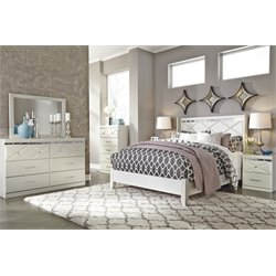 Ashley Dreamur 5 Piece Queen Panel Bedroom Set in Champagne