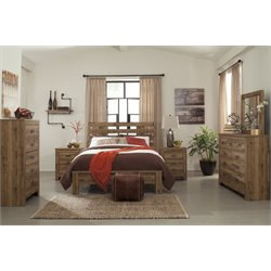 Ashley Cinrey 5 Piece Queen Panel Bedroom Set in Medium Brown