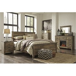 Ashley Trinell 5 Piece Queen Panel Bedroom Set in Brown